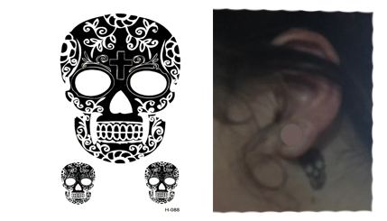 Tatuaż Tymczasowy Czaszka Czacha Na Palec Za Ucho 7460513861
