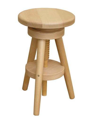 Taboret Regulowany Obrotowy Bukowy Krzesło Stołek