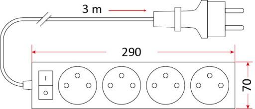 Przedłużacz guma budowlany 4 gniazdowy +wyłącznik