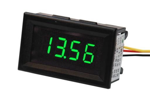 Woltomierz cyfrowy panelowy 30V zielony 4-znakowy