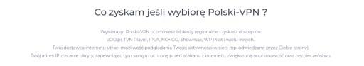 polski-vpn.pl Polski IP, transfer bez limitu, 2mc