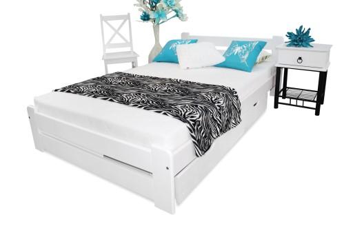 łóżko Sosnowe Eureka 180x200 Białe Stelaż Producen