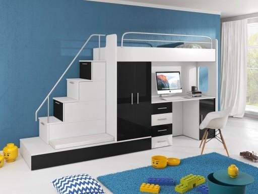 łóżko piętrowe 2 powierzchnie spania biurko szafa