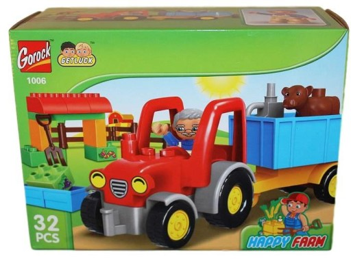 Klocki Duże Traktor Traktorek Dziadek Farma 7623058894 Allegropl