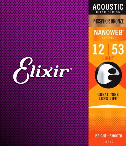 Elixir 16052 NanoWeb Phosphor Bronze 12-53 struny
