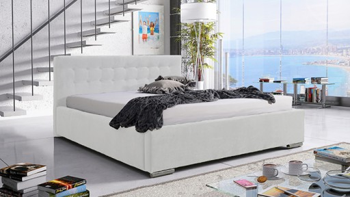 Białe łóżko Tapicerowane Lena 140x200 Pojemnikiem