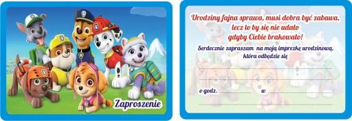 Zaproszenia Urodzinowe Dla Dzieci Psi Patrol 7528278373 Allegropl