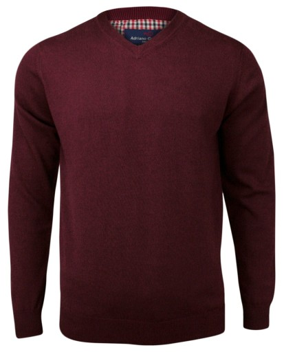 Męski sweter Adriano Guinari burgundowy -roz: L