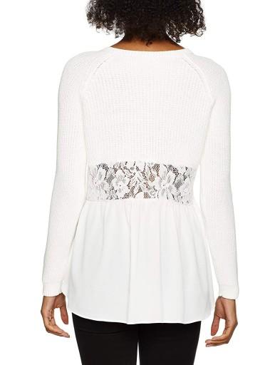 FRENCH CONNECTION FCUK ciepły sweter biel koron XS