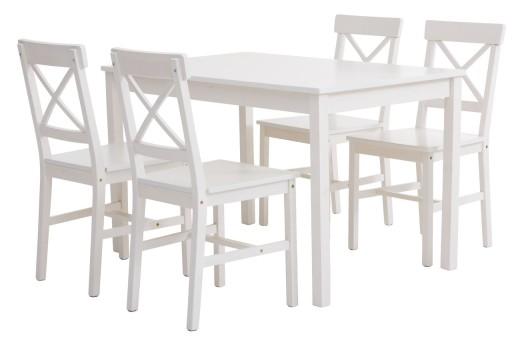 Styl Ikea Drewniany Zestaw Stół 4 Krzesła Biały