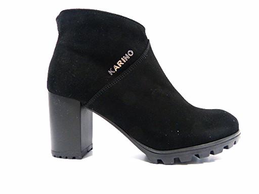 Botki Sandały KARINO 37 Czarne na słupku skórzane Mikado