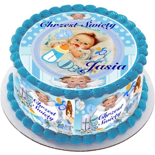 Opłatek Gruby Na Tort Chrzest Urodziny Dekoracja 7759449943 Allegropl