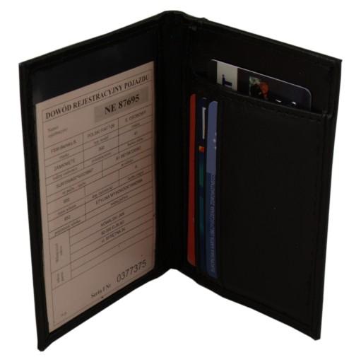 Okładka na dokumenty dowód Portfel Skórzany Czarny