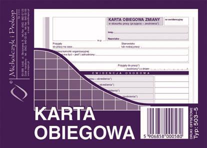 Karta Obiegowa Michalczyk Offset 40kartek A6 503 5 7483884395