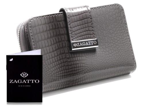 0d822adaa14ed Mały skórzany portfel damski ZAGATTO RFID szary 7632207519 - Allegro.pl