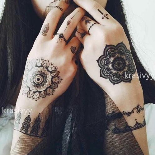 Zestaw Tatuaż Zmywalny Wzór Hinduski Henna 21x15cm 7554229186