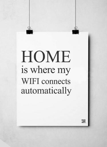 Plakat Typograficzny 40x50 Home Wifi Family Nowość