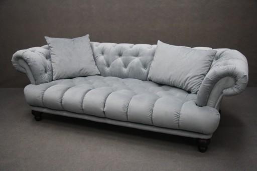 Sofa Nierozkladana Pikowana Szara Chesterfield 7288553584 Allegro Pl