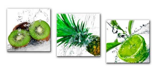 Obrazy Tryptyk Owoce Zielone Obraz Do Kuchni 90x30