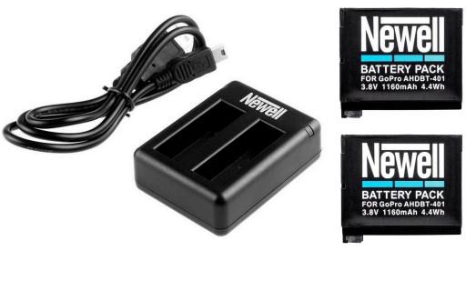 Ładowarka+2X bateria AHDBT 401 Gopro HERO 4 NEWELL