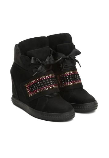 Sneakersy na koturnie BOTKI VICES r. 37 czarne