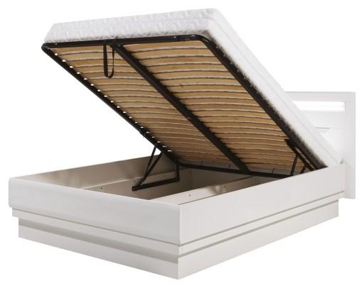 Irma łóżko 180 X 200 Biały Połysk Z Pojemnikiem