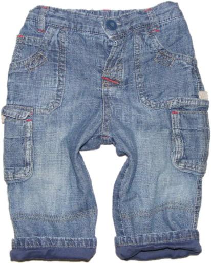 MATALAN  ocieplane jeansy bojówki  74 cm
