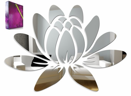 Piękne Lustro Dekoracyjne Akrylowe Wzór Lilia 50cm