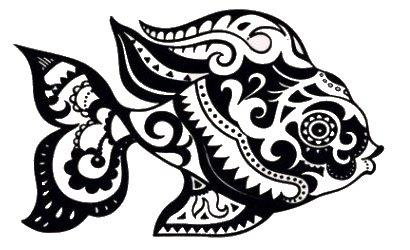 Tribale Ryba Tatuaż Zmywalny Kalkomania Rybka M90