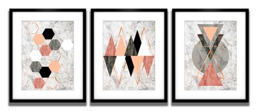 Plakaty W Ramach Komplet 3 Szt Geometryczne Wzory