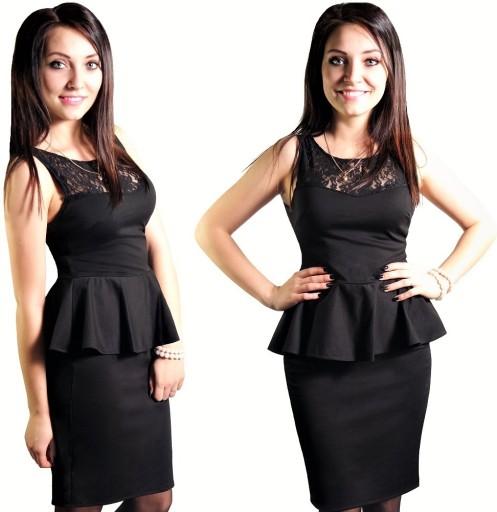 Czarna sukienka BASKINKA i koronka 42 Dłuższa ?? 7011624115