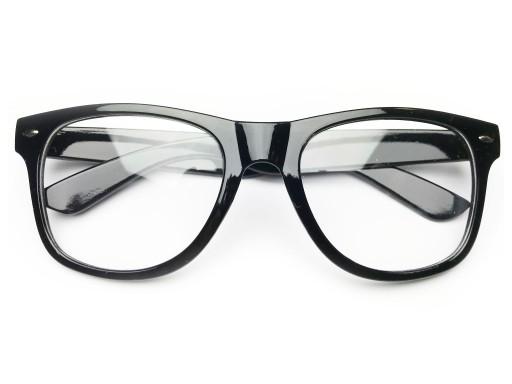 Okulary KUJONKI nerd ZERÓWKI klasyczne CZARNE