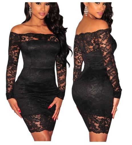 df22ad77dd Sukienka koronkowa koktajlowa mała czarna 22651 XS 7692636463 - Allegro.pl