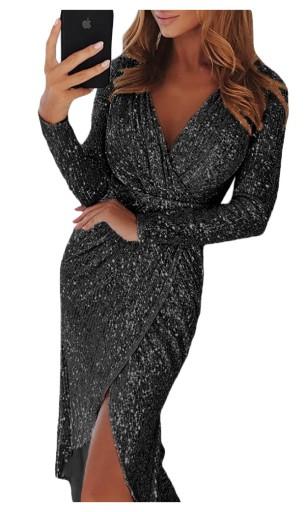 3caf433b Cekinowa sukienka koktajlowa 610569 czarna r 36-44