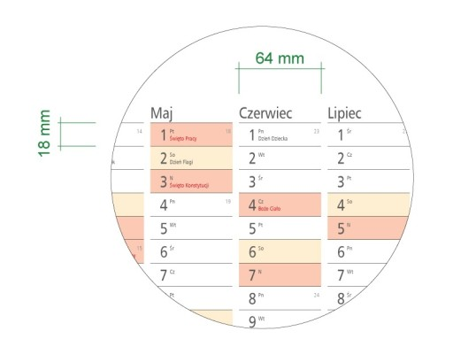 Suchościeralny Planer Kalendarz 2018 84x59cm (A1)