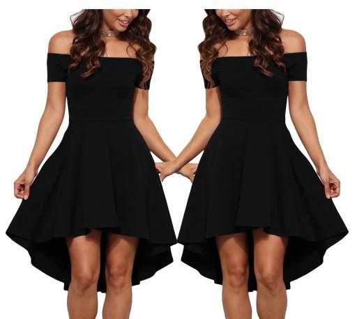 9e1b074d91 Sukienka rozkloszowana koktajlowa czarna 346 XL 42 6642569294 ...