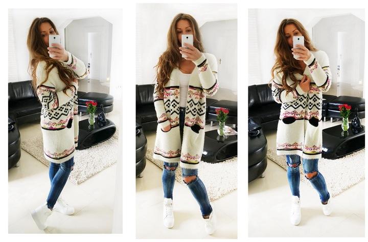FA#003B_ Sweter Długi Ciepły Kardigan Boho Etno 6977680063 Odzież Damska Swetry IE IGRAIE-1