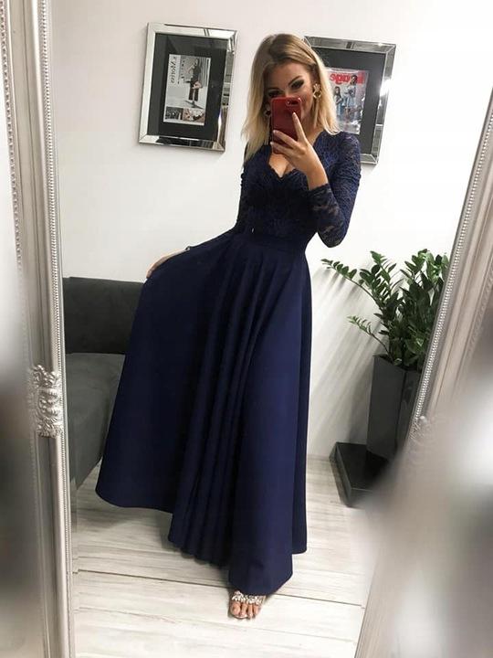 KORONKOWA DŁUGA SUKIENKA MAXI odkryte plecy WESELE 8756993833 Odzież Damska Sukienki wieczorowe TW UNPMTW-6